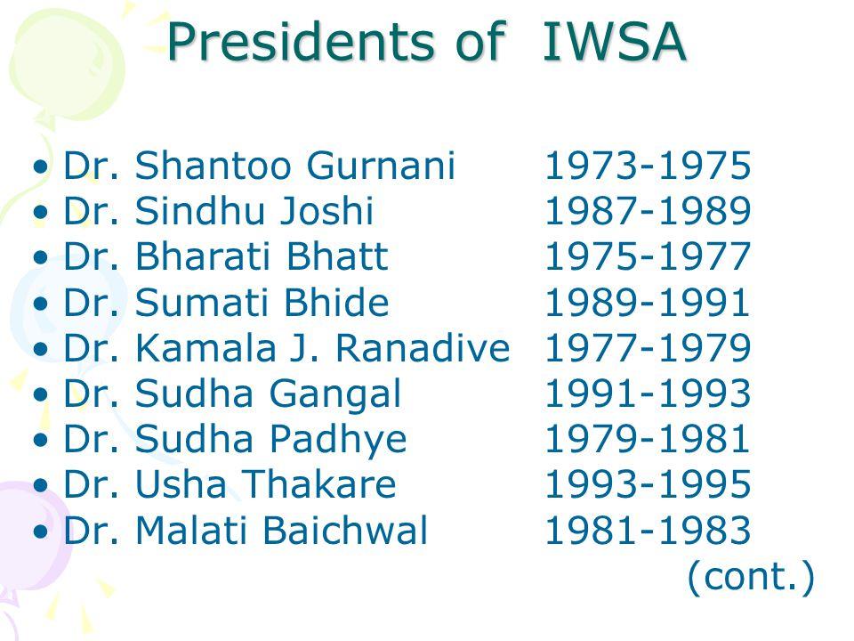 Presidents of IWSA Dr. Shantoo Gurnani 1973-1975