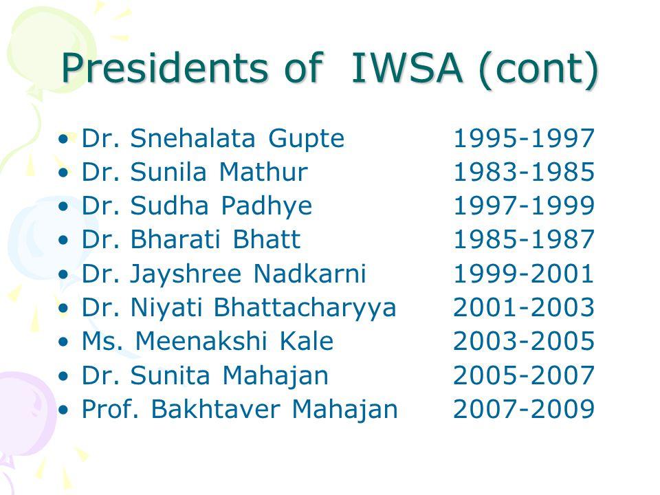 Presidents of IWSA (cont)
