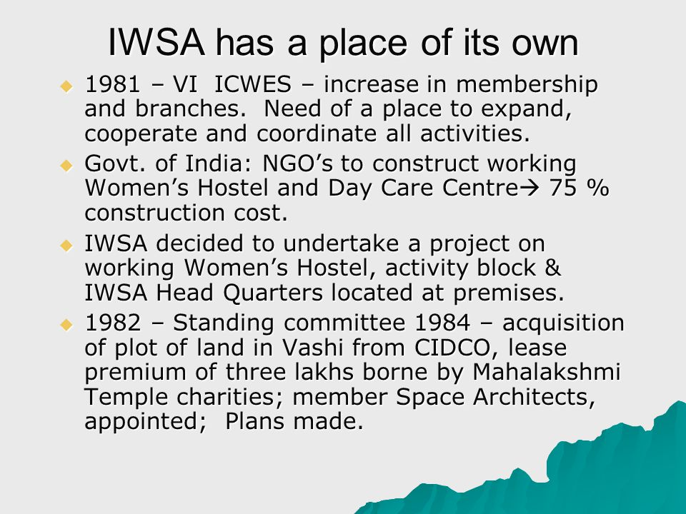IWSA has a place of its own