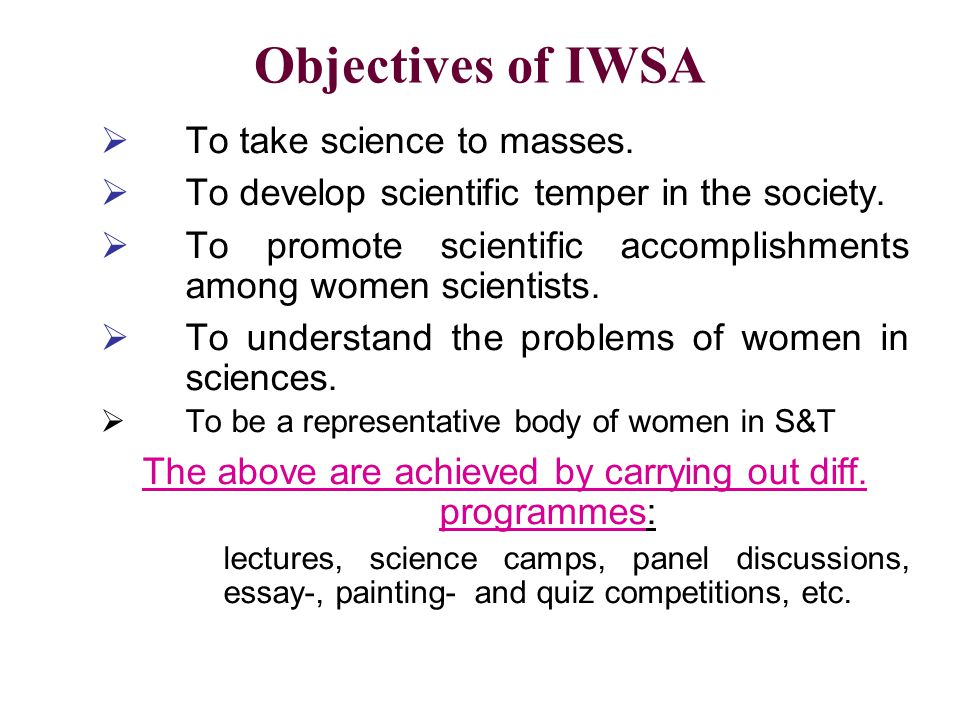 The above are achieved by carrying out diff. programmes:
