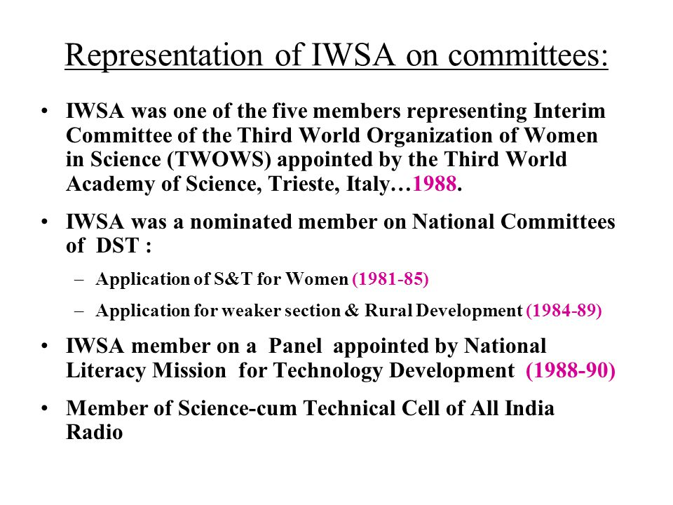 Representation of IWSA on committees: