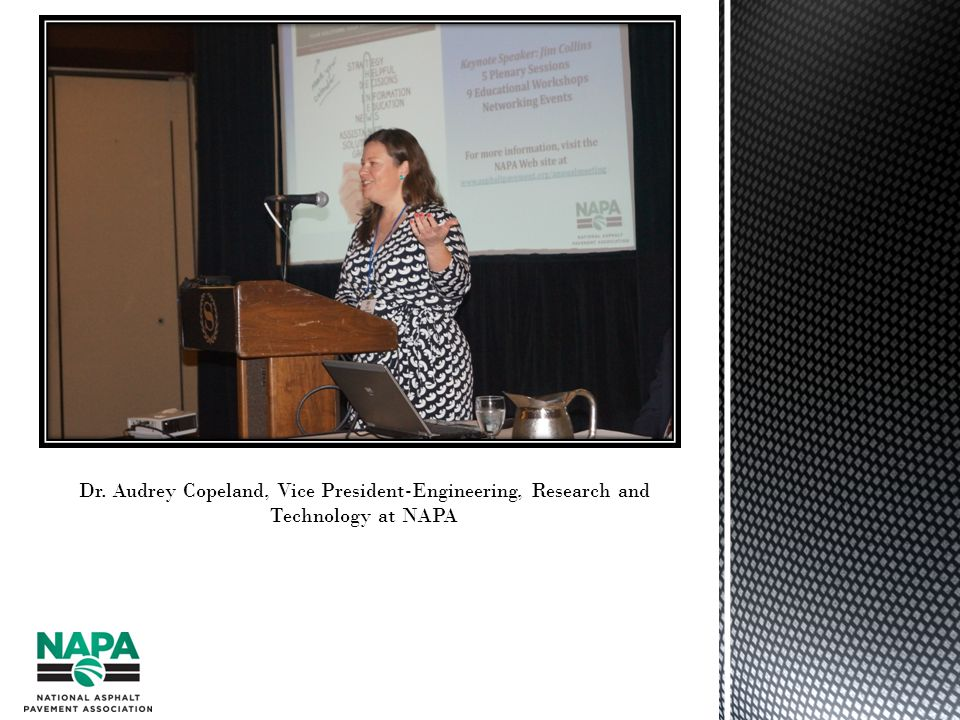 Dr. Audrey Copeland, Vice President-Engineering, Research and Technology at NAPA