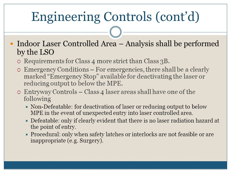 Engineering Controls (cont'd)