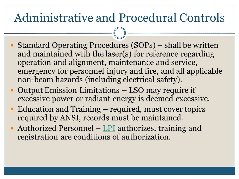 Administrative and Procedural Controls