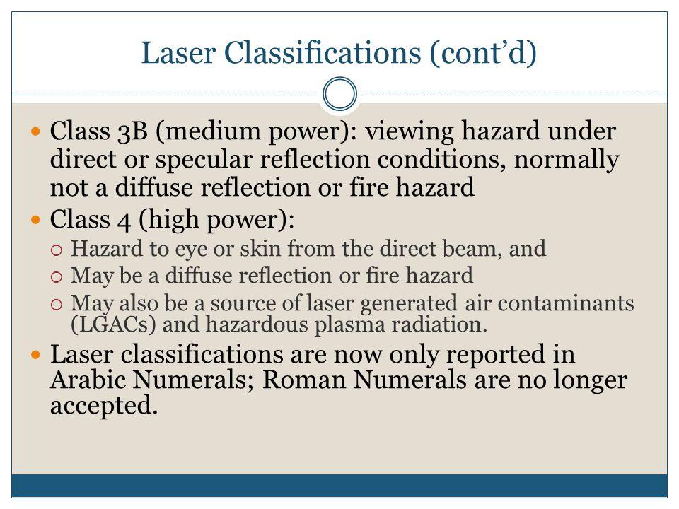 Laser Classifications (cont'd)