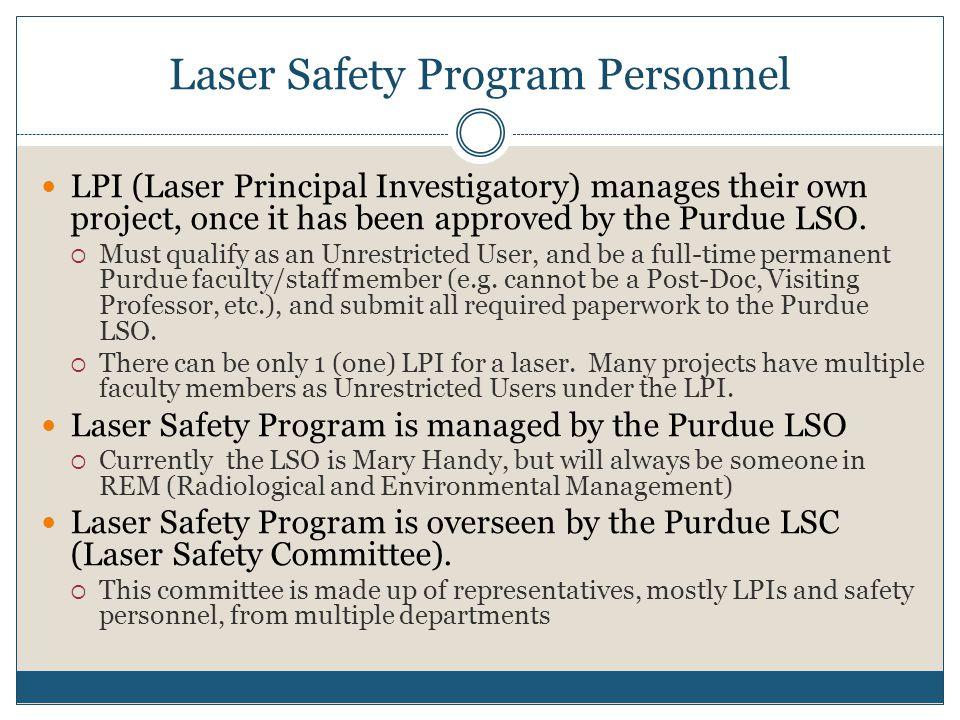 Laser Safety Program Personnel