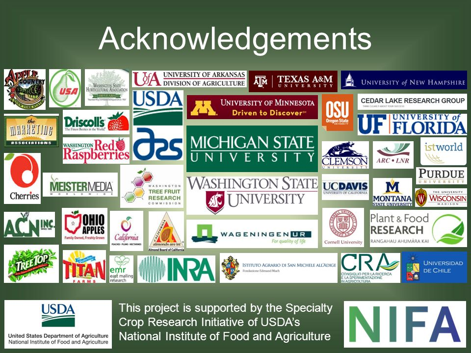Acknowledgements This project is supported by the Specialty Crop Research Initiative of USDA's National Institute of Food and Agriculture.