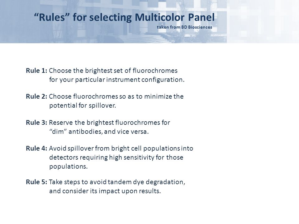 Rules for selecting Multicolor Panel