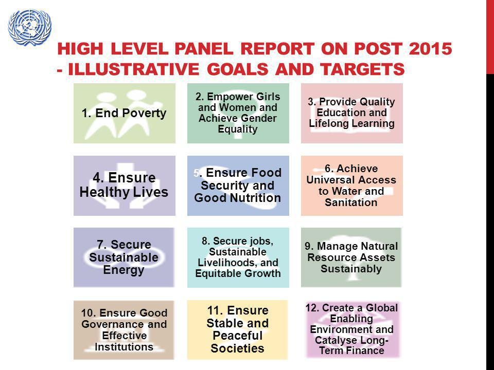 High level Panel report on post 2015 - ILLUSTRATIVE GOALS AND TARGETS