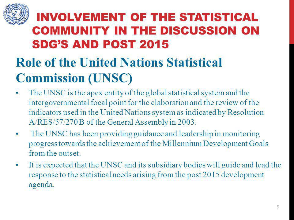 Role of the United Nations Statistical Commission (UNSC)