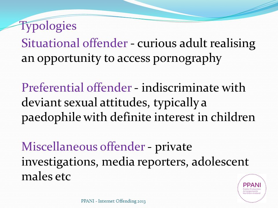 Typologies Situational offender - curious adult realising an opportunity to access pornography.