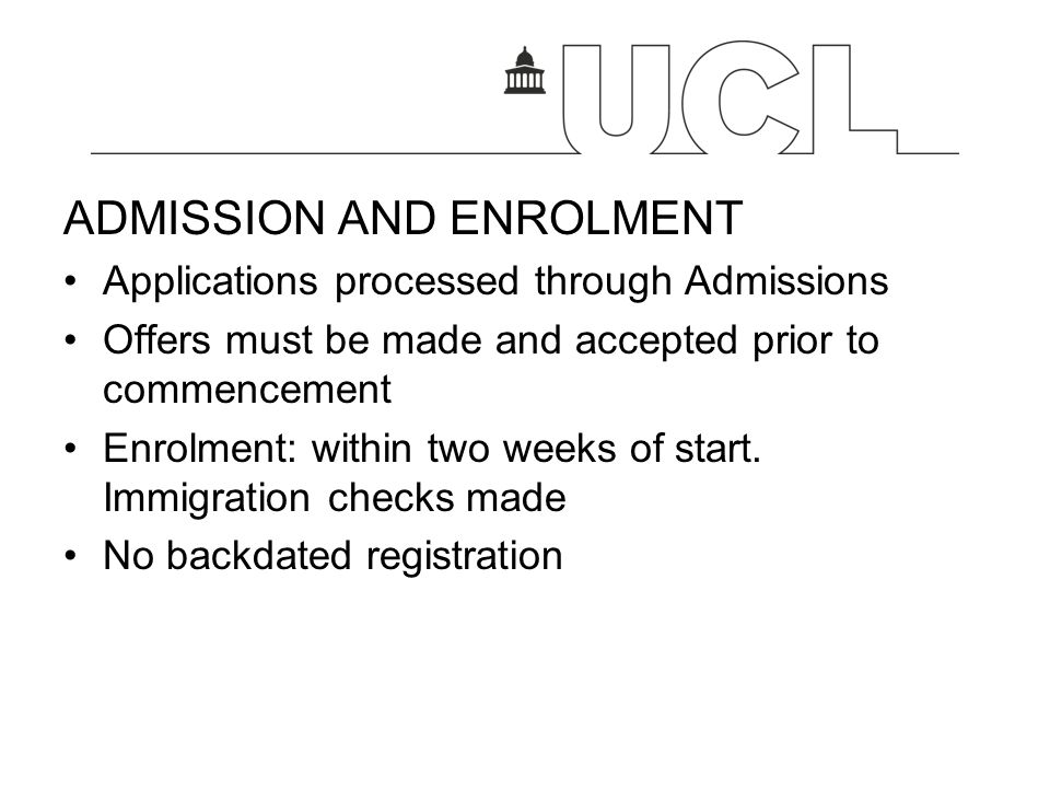 ADMISSION AND ENROLMENT