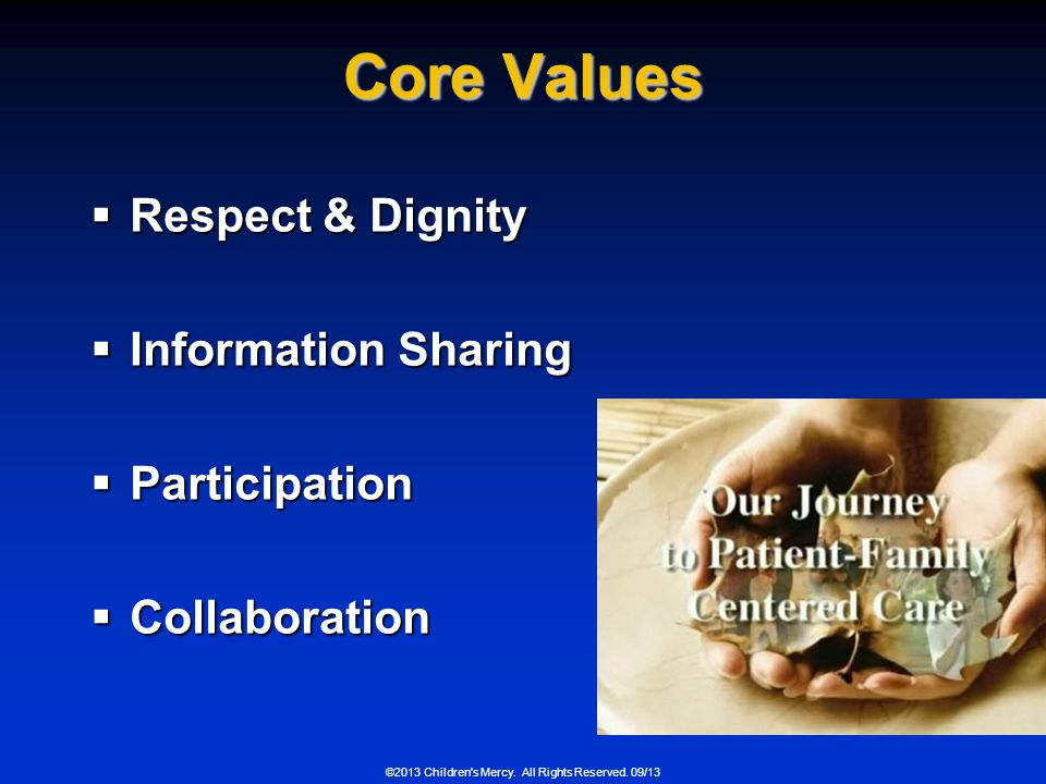 Core Values Respect & Dignity Information Sharing Participation