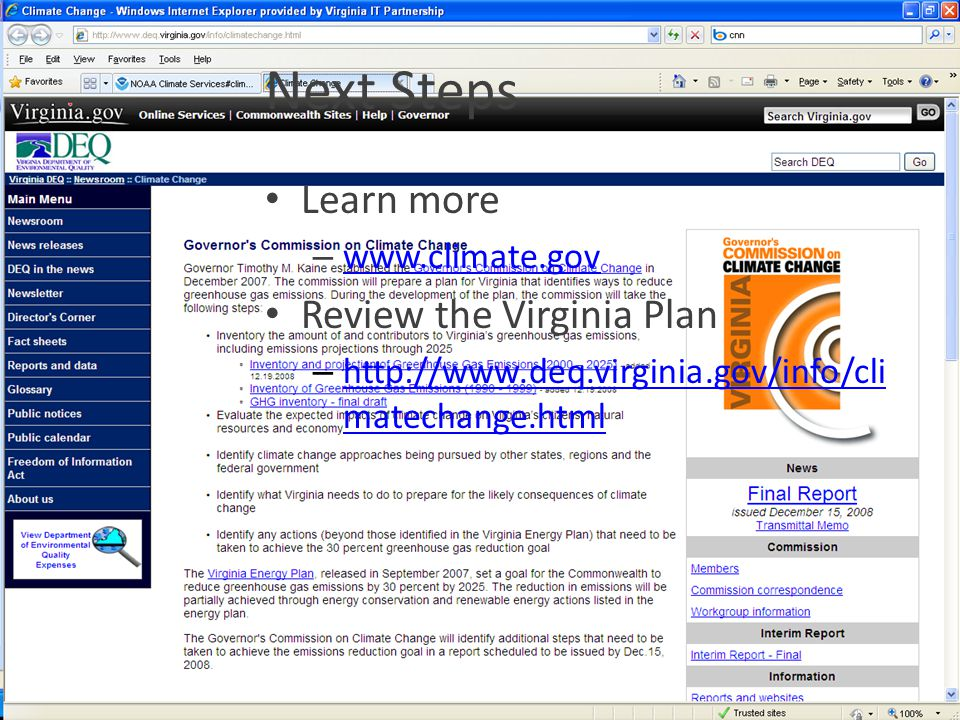 Next Steps Learn more Review the Virginia Plan www.climate.gov