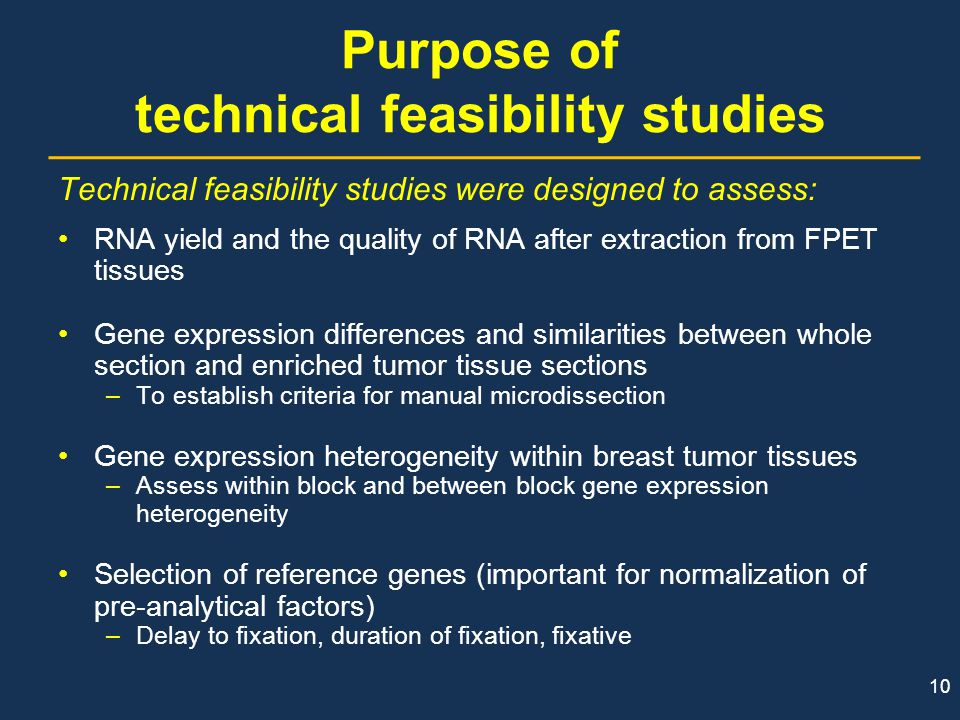 Purpose of technical feasibility studies