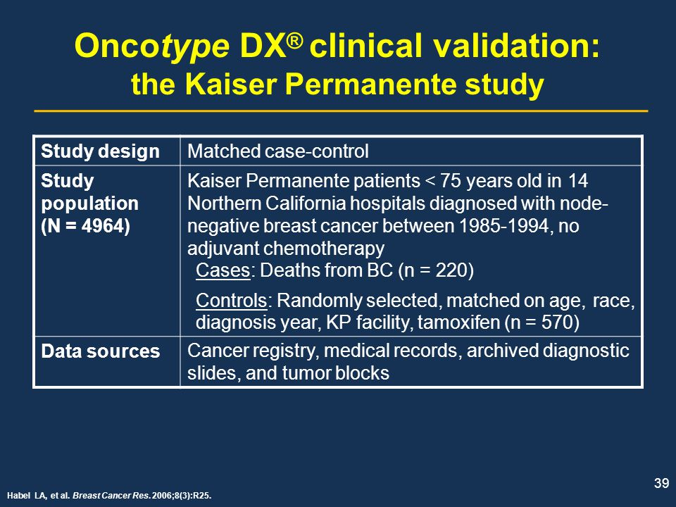 Oncotype DX® clinical validation: the Kaiser Permanente study