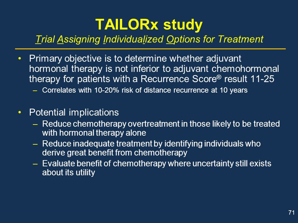 TAILORx study Trial Assigning Individualized Options for Treatment