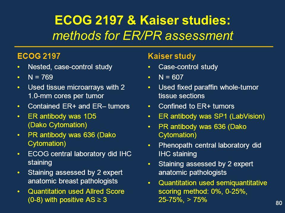 ECOG 2197 & Kaiser studies: methods for ER/PR assessment