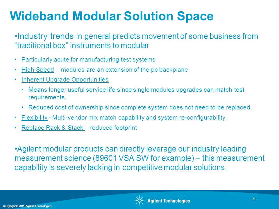 Wideband Modular Solution Space