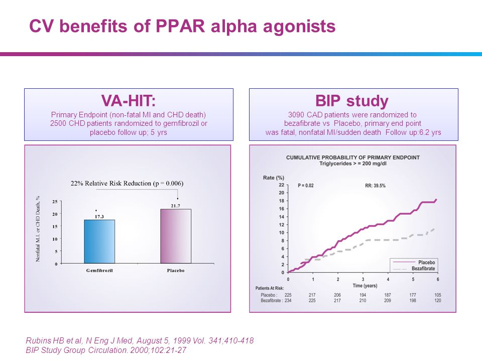 CV benefits of PPAR alpha agonists