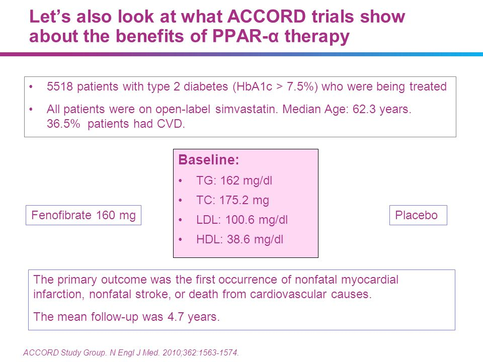Let's also look at what ACCORD trials show about the benefits of PPAR-α therapy