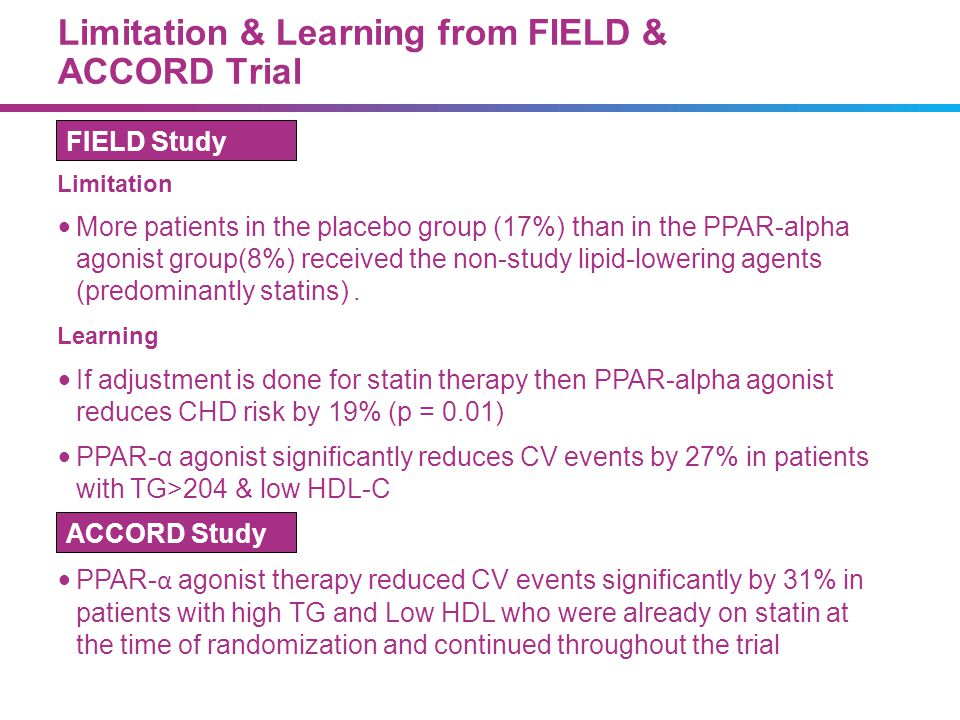 Limitation & Learning from FIELD & ACCORD Trial