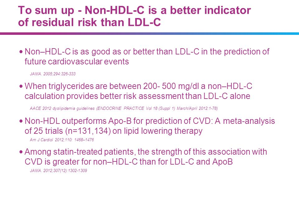 9_85 07/09/13. To sum up - Non-HDL-C is a better indicator of residual risk than LDL-C.
