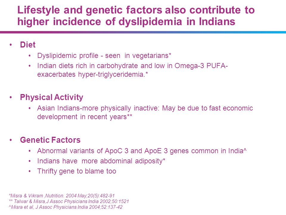 20483_85 07/09/13. Lifestyle and genetic factors also contribute to higher incidence of dyslipidemia in Indians.