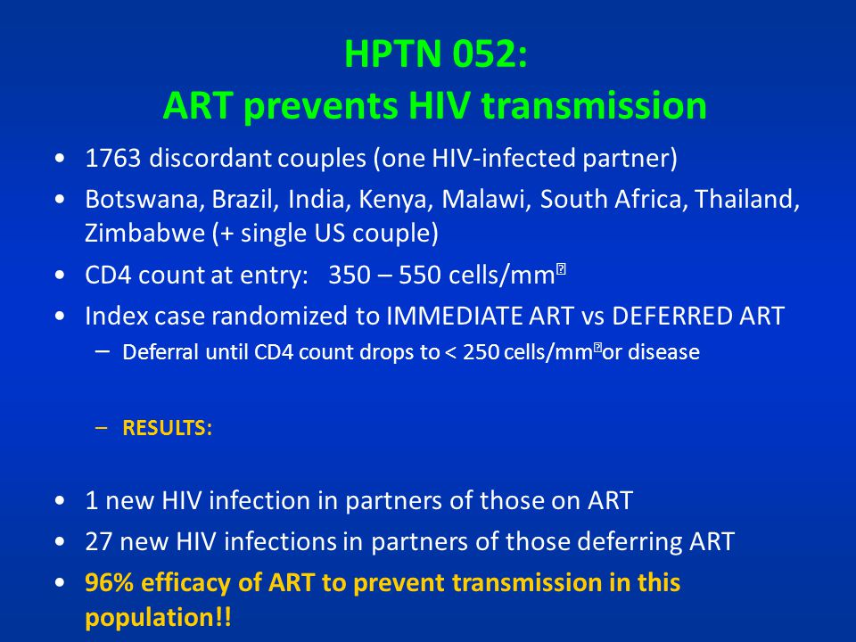 HPTN 052: ART prevents HIV transmission