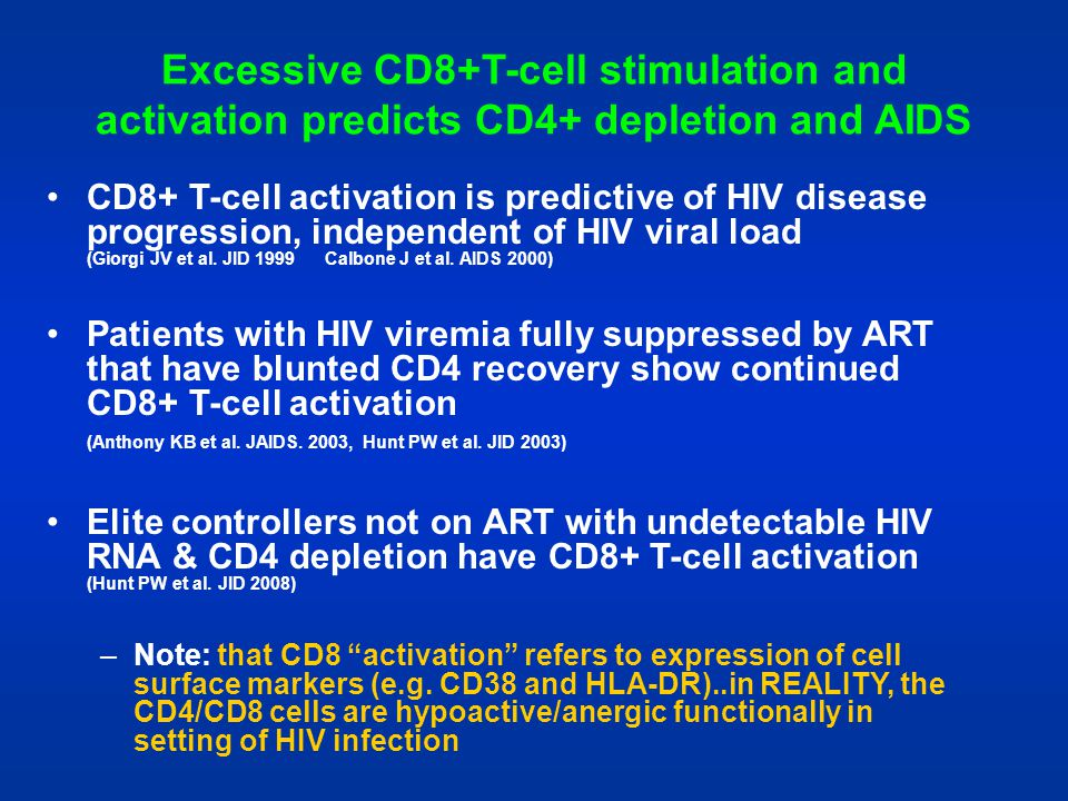 Excessive CD8+T-cell stimulation and activation predicts CD4+ depletion and AIDS