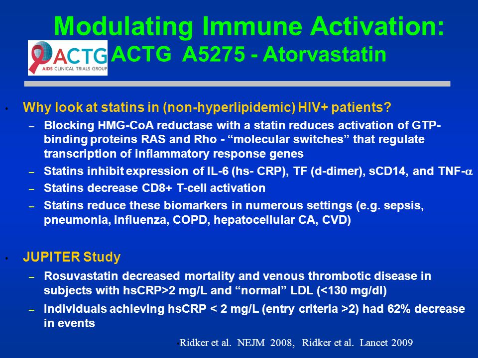 Modulating Immune Activation: ACTG A5275 - Atorvastatin