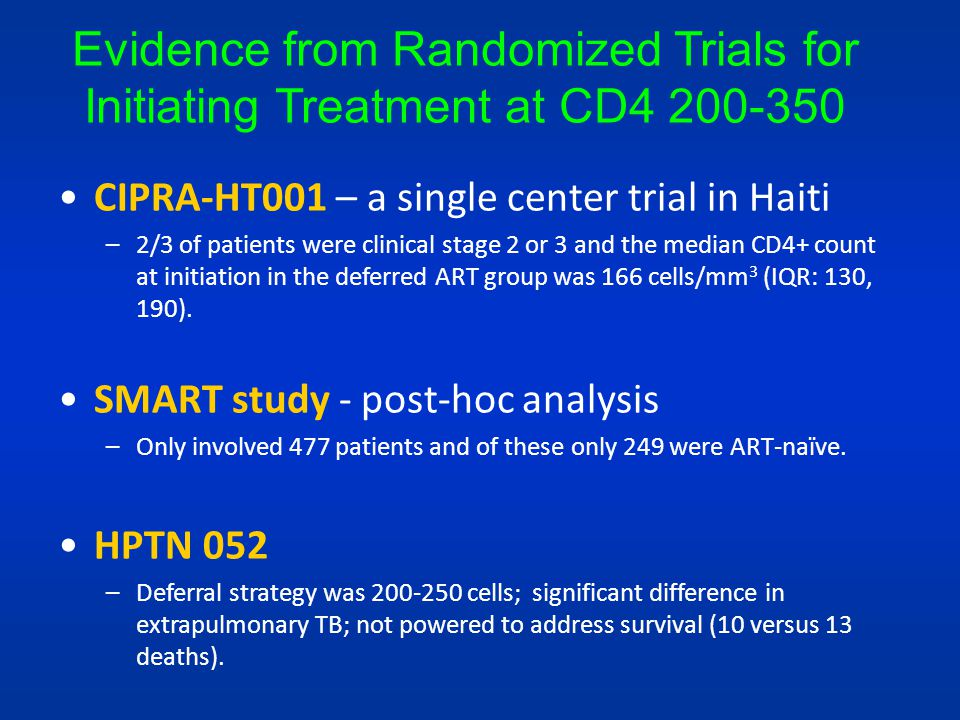 Evidence from Randomized Trials for Initiating Treatment at CD4 200-350
