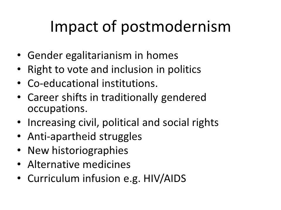 Impact of postmodernism