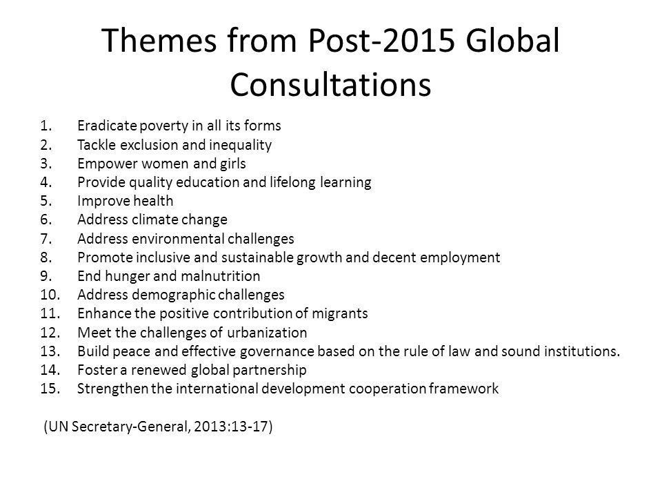 Themes from Post-2015 Global Consultations