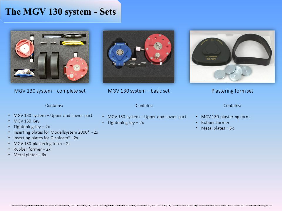 MGV 130 system – complete set