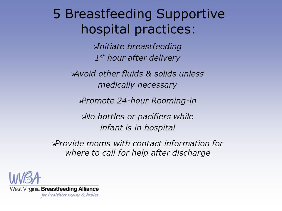 5 Breastfeeding Supportive hospital practices: