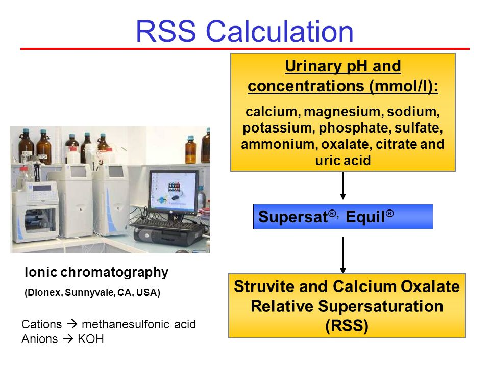 Struvite and Calcium Oxalate Relative Supersaturation (RSS)