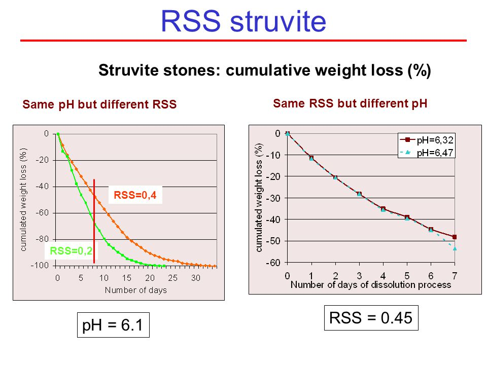 RSS struvite Struvite stones: cumulative weight loss (%) RSS = 0.45