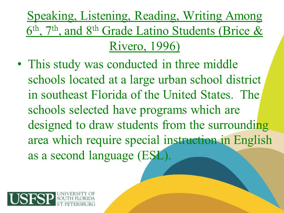 Speaking, Listening, Reading, Writing Among 6th, 7th, and 8th Grade Latino Students (Brice & Rivero, 1996)
