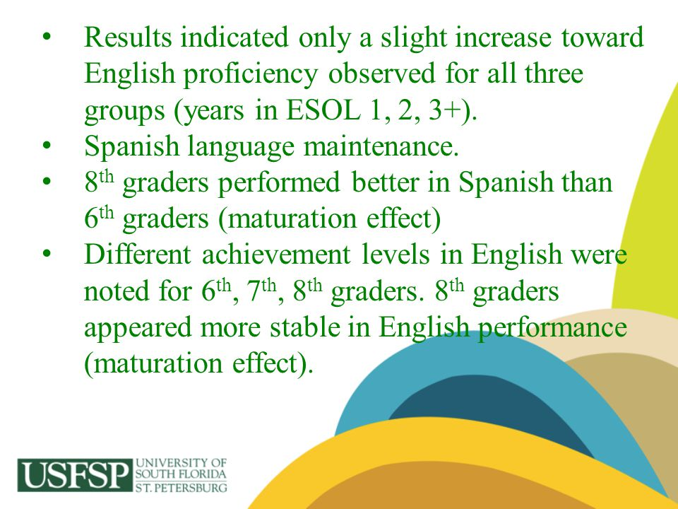 Results indicated only a slight increase toward English proficiency observed for all three groups (years in ESOL 1, 2, 3+).