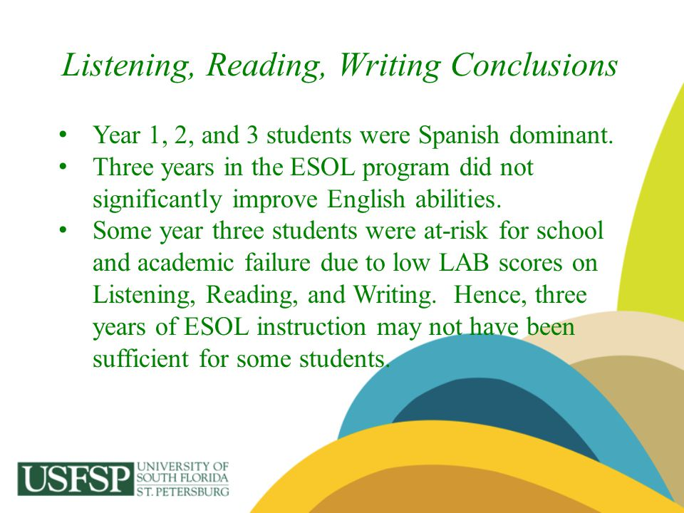 Listening, Reading, Writing Conclusions