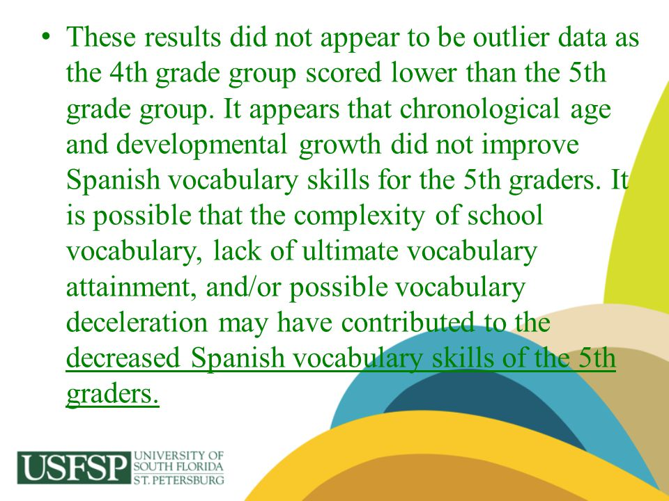These results did not appear to be outlier data as the 4th grade group scored lower than the 5th grade group.