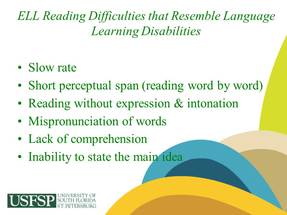 ELL Reading Difficulties that Resemble Language Learning Disabilities