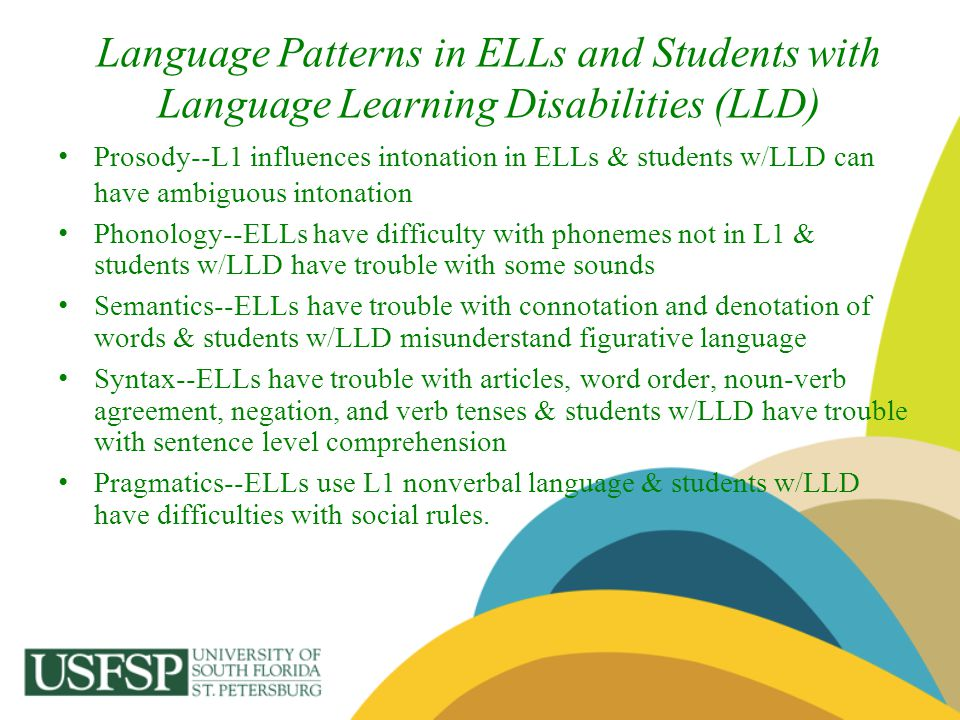 Language Patterns in ELLs and Students with Language Learning Disabilities (LLD)