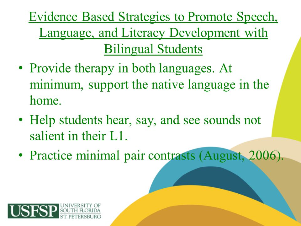 Evidence Based Strategies to Promote Speech, Language, and Literacy Development with Bilingual Students