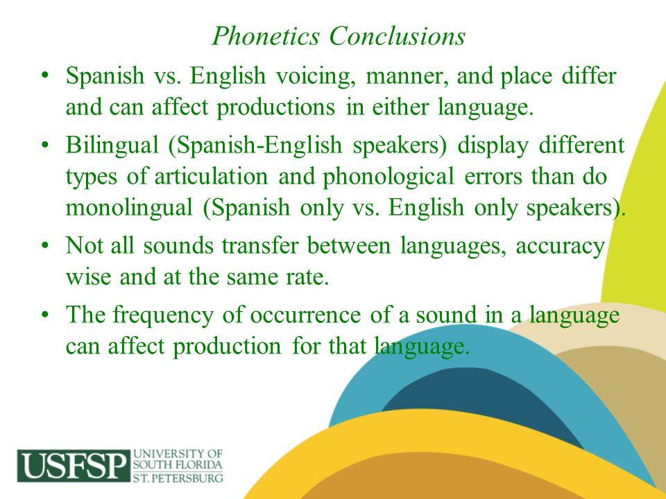 Phonetics Conclusions