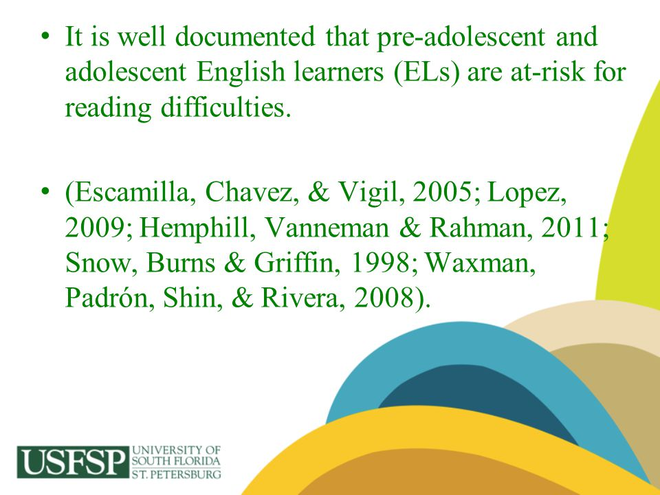 It is well documented that pre-adolescent and adolescent English learners (ELs) are at-risk for reading difficulties.