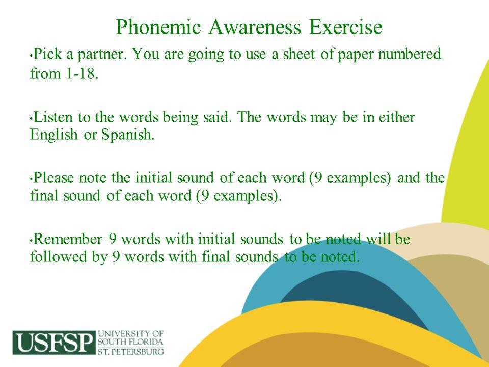 Phonemic Awareness Exercise