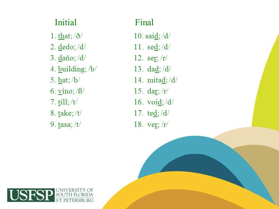 Initial Final 1. that; /ð/ 10. said; /d/ 2. dedo; /d/ 11. sed; /d/