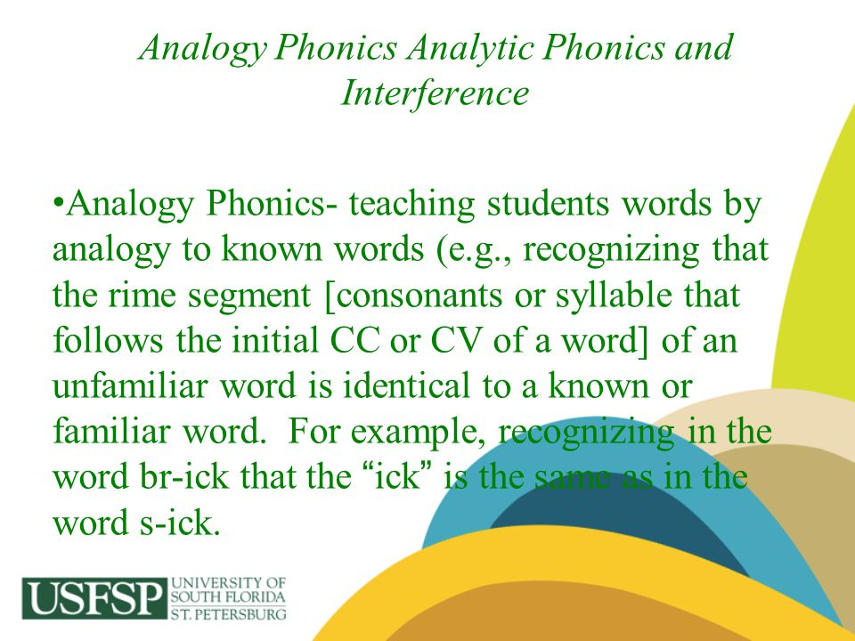 Analogy Phonics Analytic Phonics and Interference